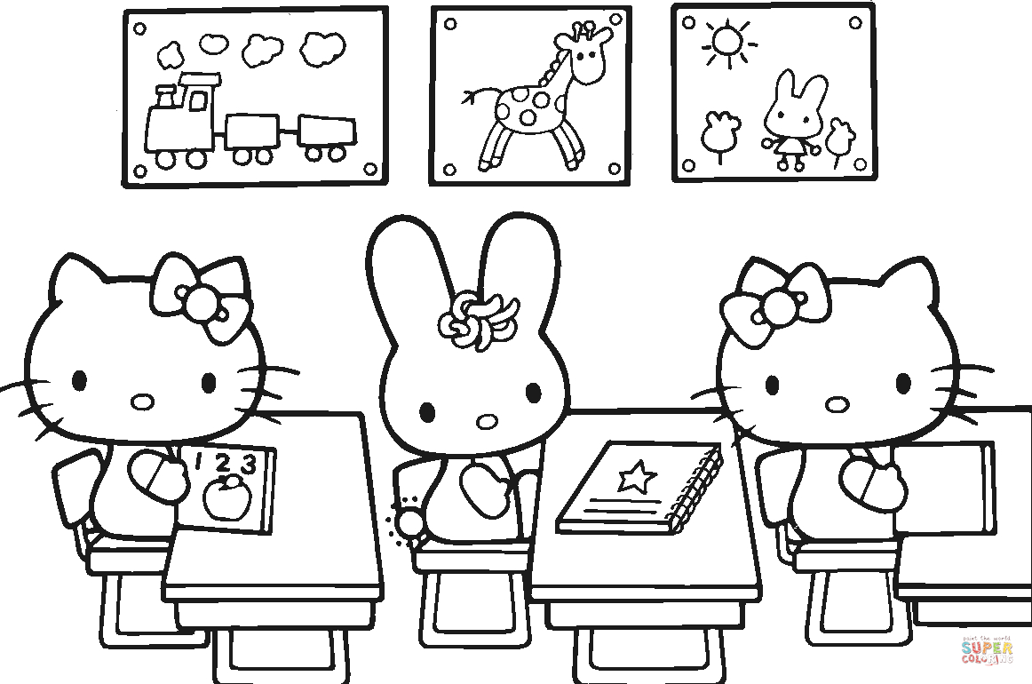 Hello Kitty Back To School Coloring Page | Free Printable Coloring Pages - Free Printable Coloring Sheets For Back To School