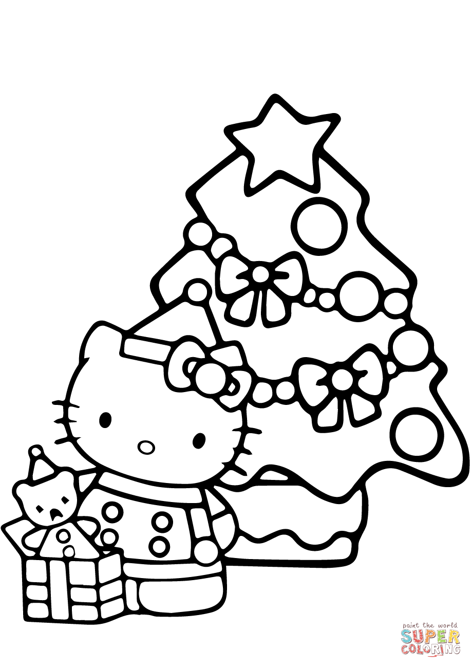Hello Kitty Christmas Coloring Page   Free Printable Coloring Pages - Free Printable Christmas Cartoon Coloring Pages