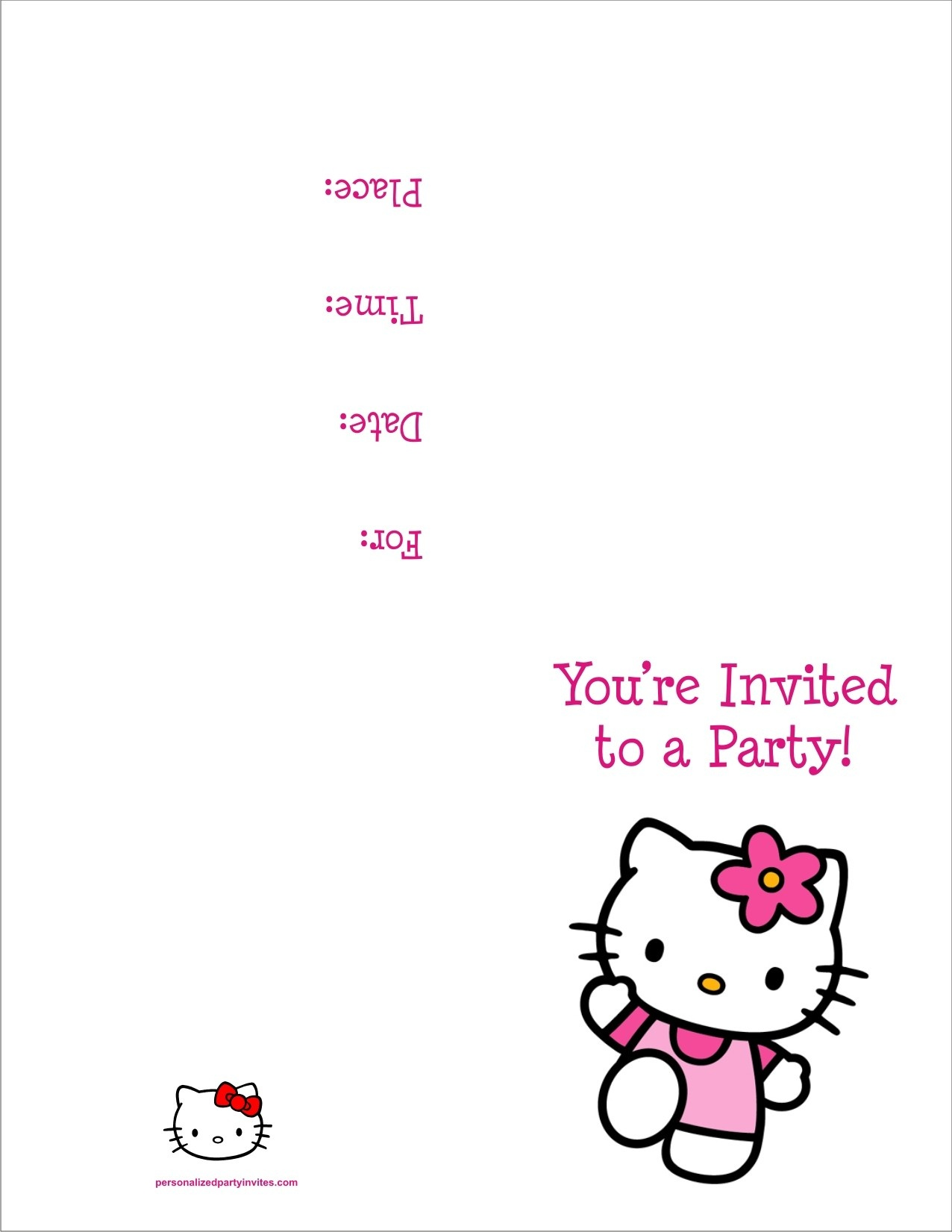 Hello Kitty Free Printable Birthday Party Invitation Personalized - Hello Kitty Birthday Card Printable Free