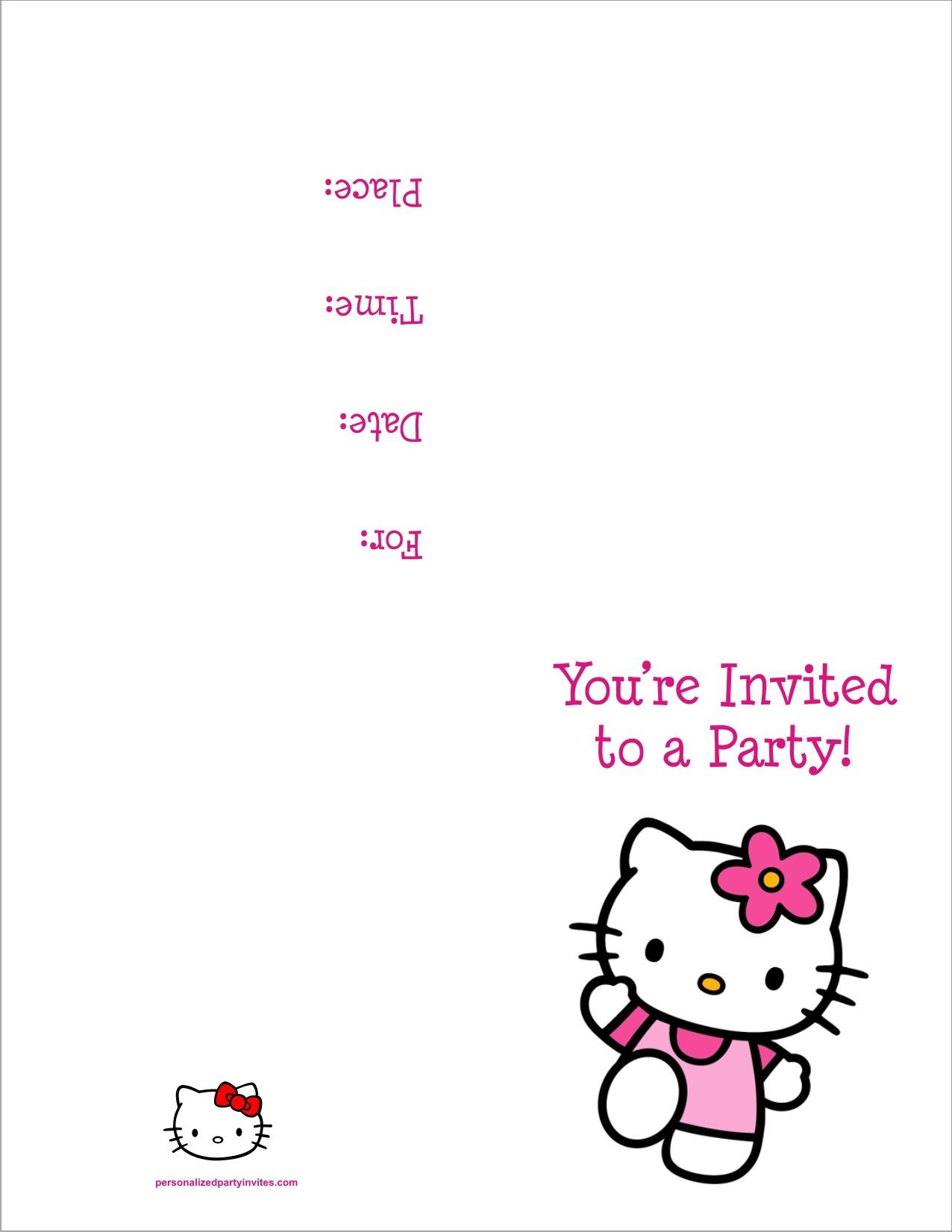Hello Kitty Free Printable Birthday Party Invitation Personalized - Hello Kitty Free Printable Invitations For Birthday