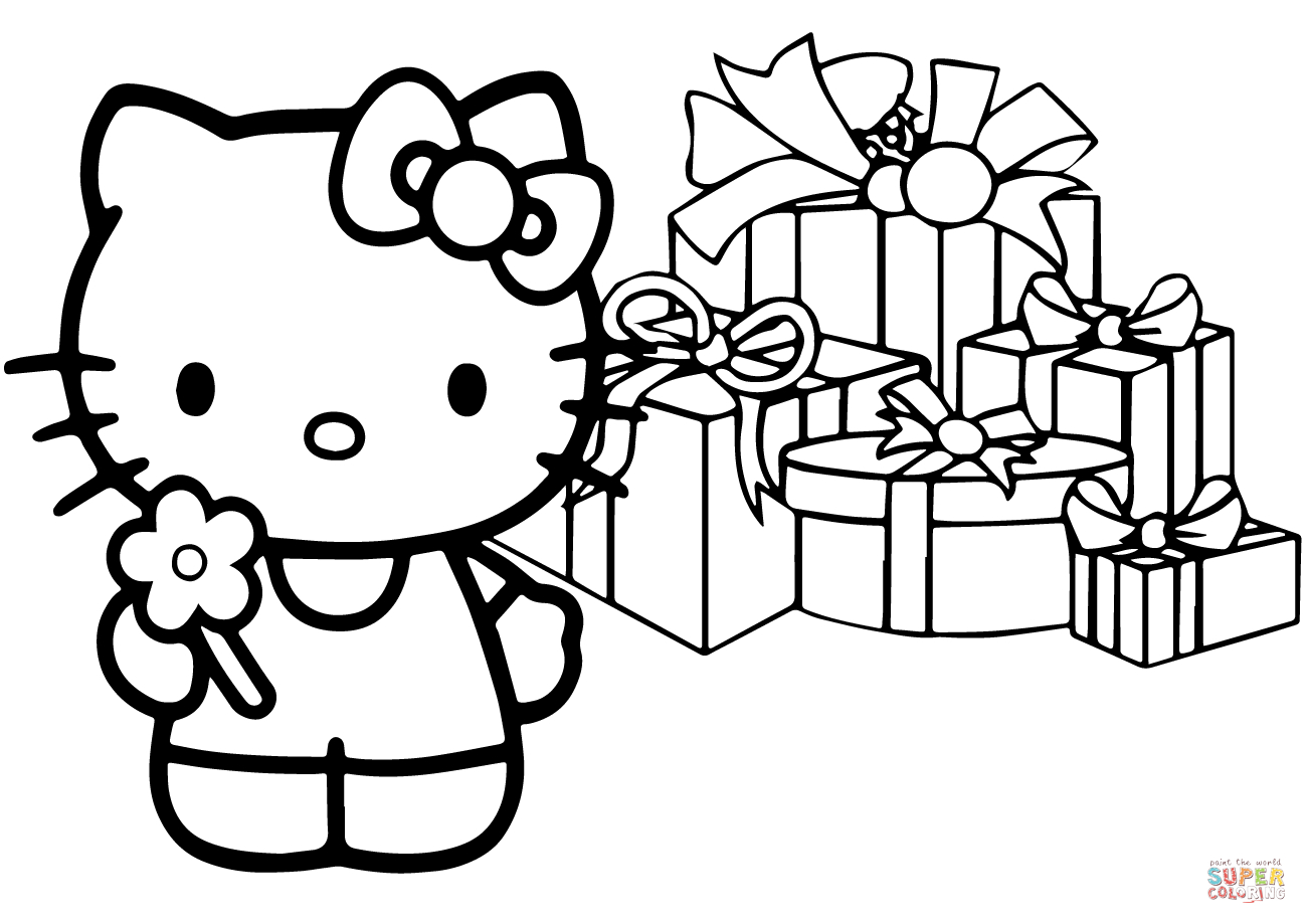 Hello Kitty Happy Christmas Coloring Page   Free Printable Coloring - Free Printable Christmas Cartoon Coloring Pages