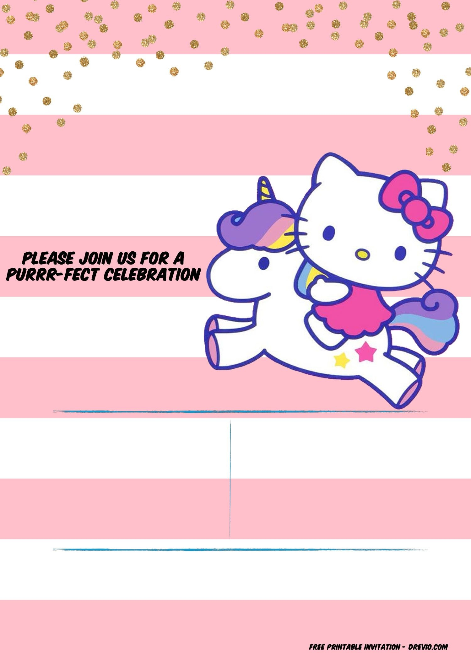 Hello Kitty Invitation Template - Portrait   Free Printable - Free Printable Hello Kitty Baby Shower Invitations