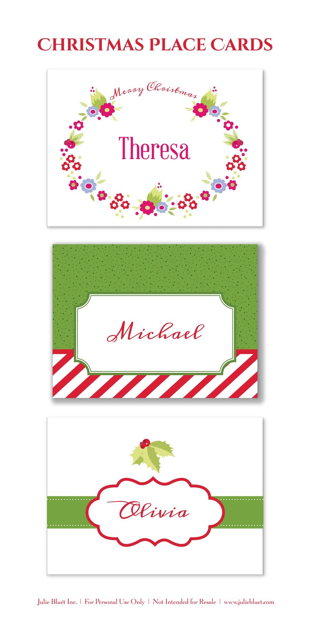 Here Are Three Free Printable Christmas Place Cards For Your Holiday - Free Printable Place Cards