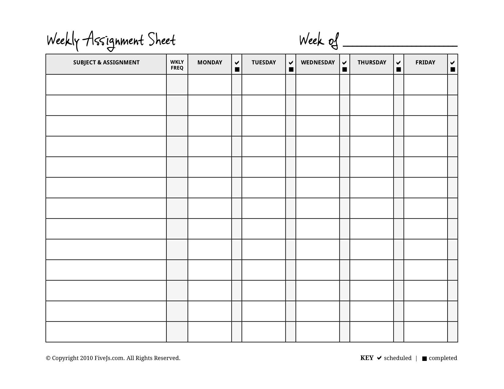 Homeschool Weekly Assignment Planner | A Counselor I Will Always Be - Free Printable Homework Assignment Sheets