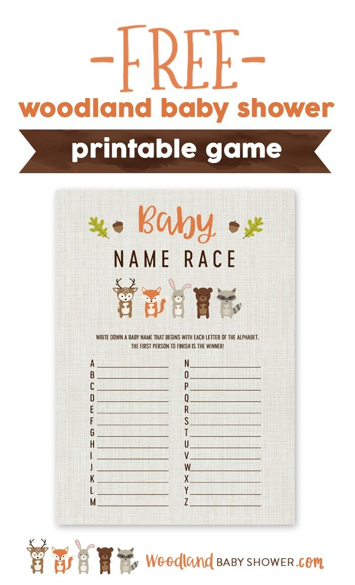 How Many Baby Names Do You Know? The Woodland Baby Name Race Is Very - Baby Name Race Free Printable
