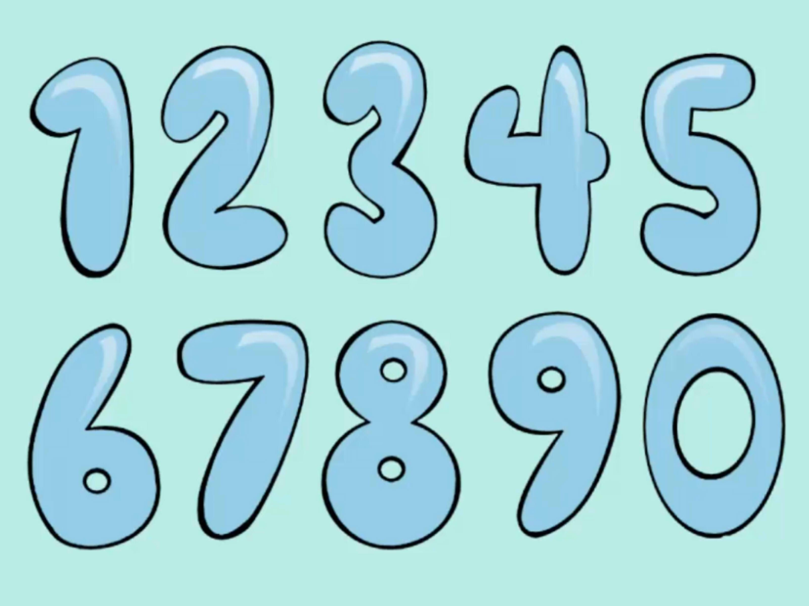 How To Draw Bubble Numbers | Stuff | Bubble Drawing, Bubble Numbers - Free Printable Bubble Numbers