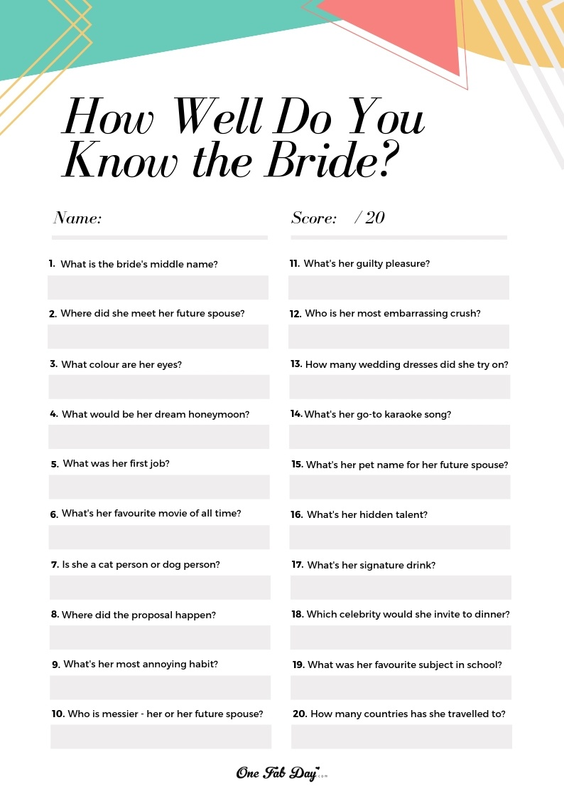 How Well Do You Know The Bride? Game: A Free Bridal Shower Printable - How Well Do You Know The Bride Free Printable