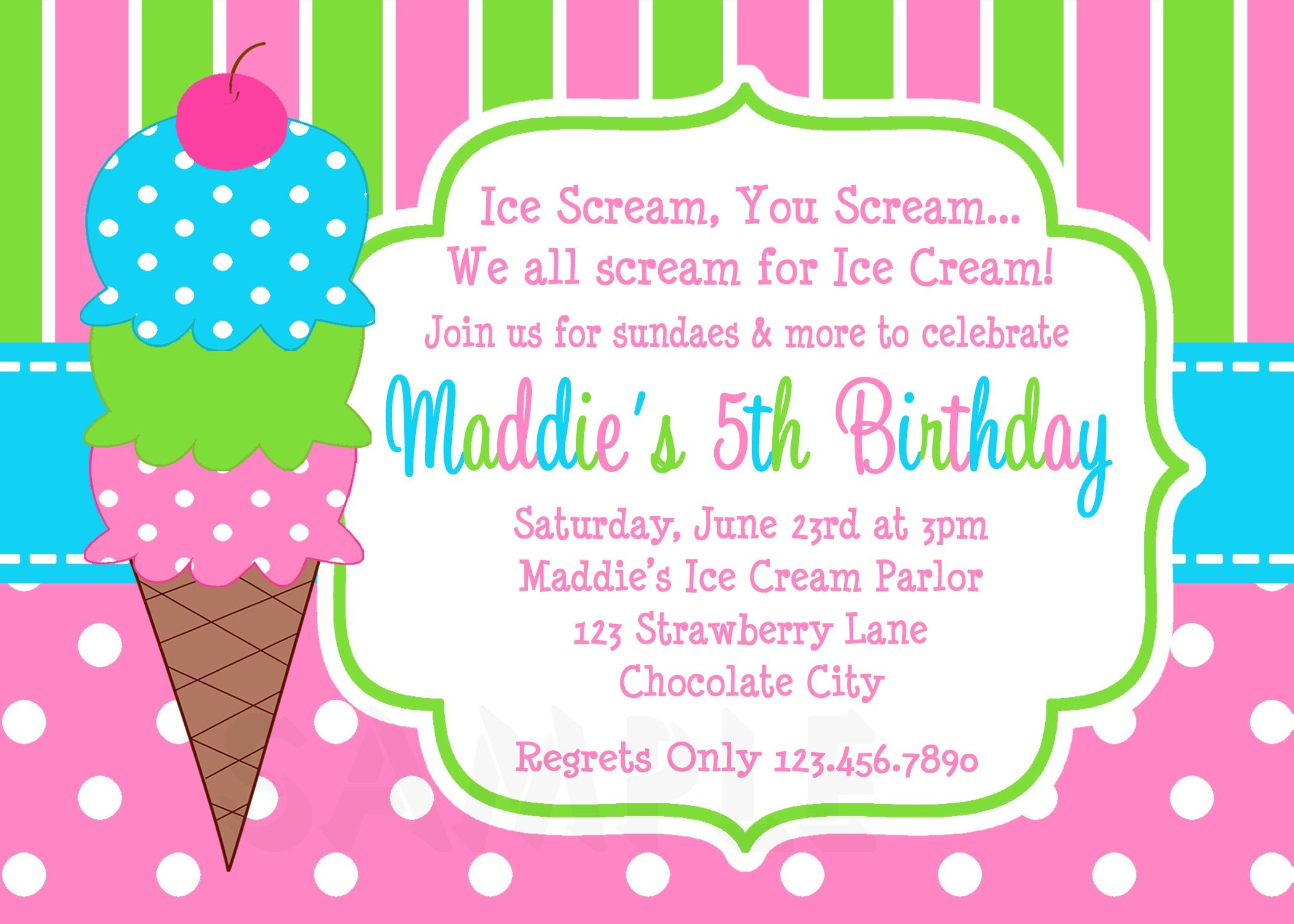 Ice Cream Birthday Party Invitations Pink Green In 2019 | Party - Ice Cream Party Invitations Printable Free