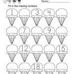 Ice Cream Missing Numbers 1 20 Worksheet For Kindergarten (Free   Free Printable Numbers 1 20 Worksheets