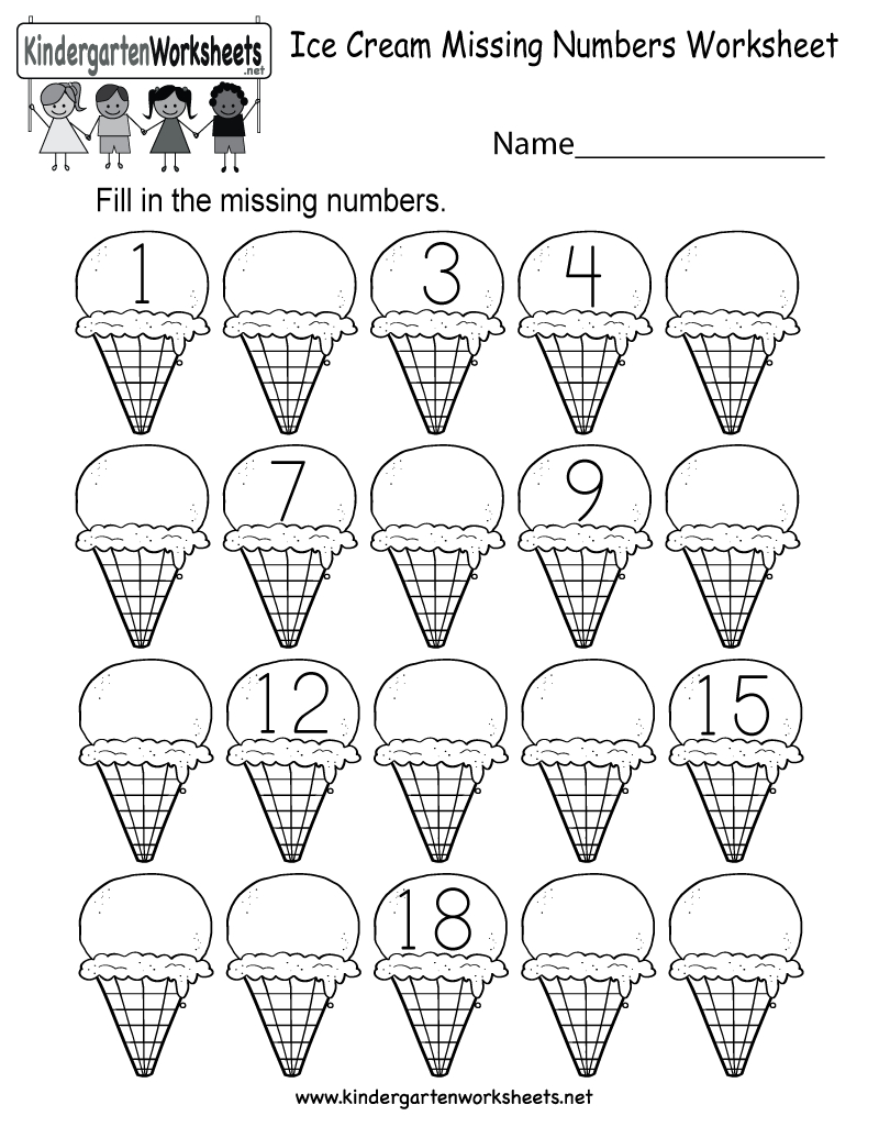 Ice Cream Missing Numbers 1-20 Worksheet For Kindergarten (Free - Free Printable Numbers 1 20 Worksheets