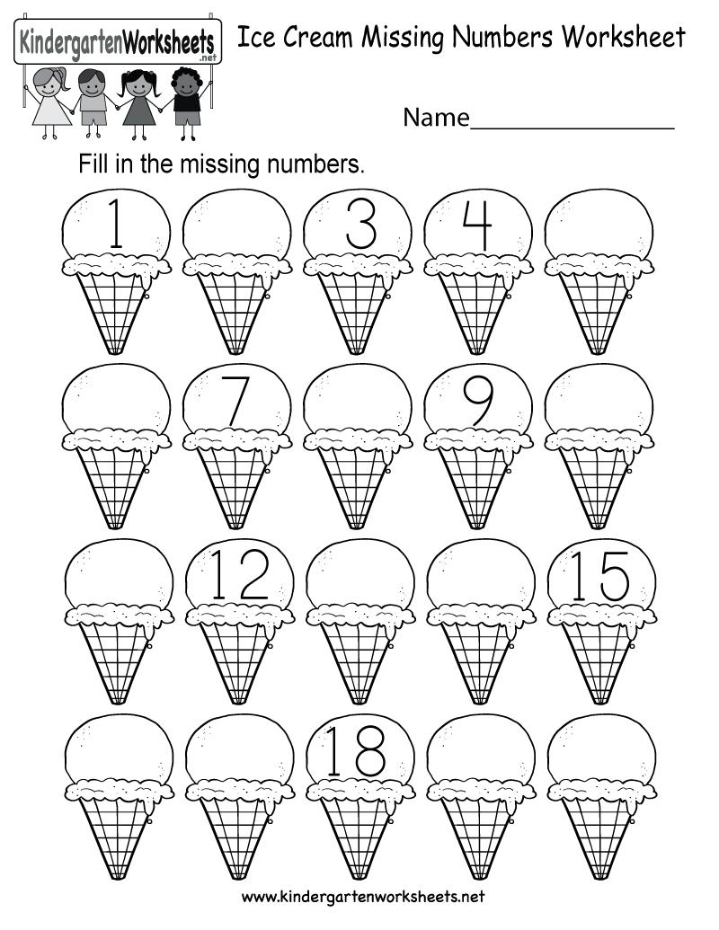 Ice Cream Missing Numbers 1-20 Worksheet For Kindergarten (Free - Free Printable Numbers 1 20 Worksheets
