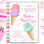 Ice Cream Party Invitation Editable Ice Cream Birthday | Etsy   Ice Cream Party Invitations Printable Free