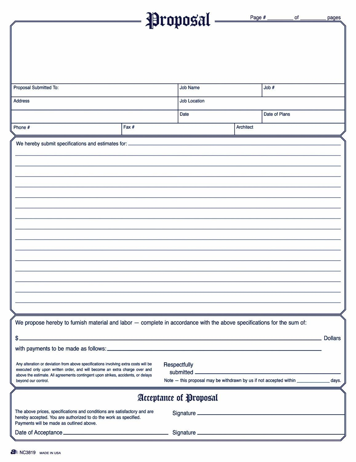 Image Result For General Contractor Forms Templates | Job Proprosals - Free Printable Proposal Forms