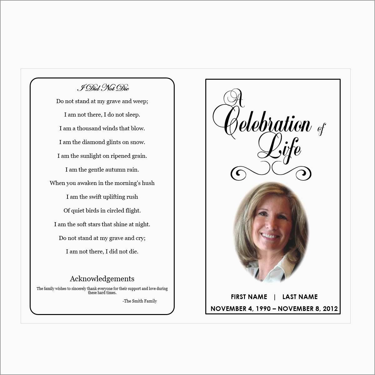 Inspirational Free Printable Funeral Prayer Card Template | Best Of - Free Printable Funeral Prayer Card Template