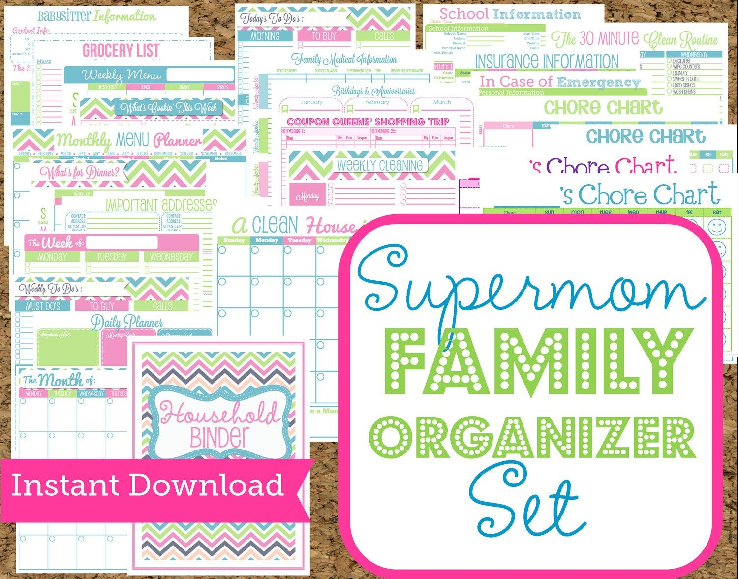 Instant Download Mom Planners- Home Organization Printables-30 - Free Printable Home Organization Worksheets