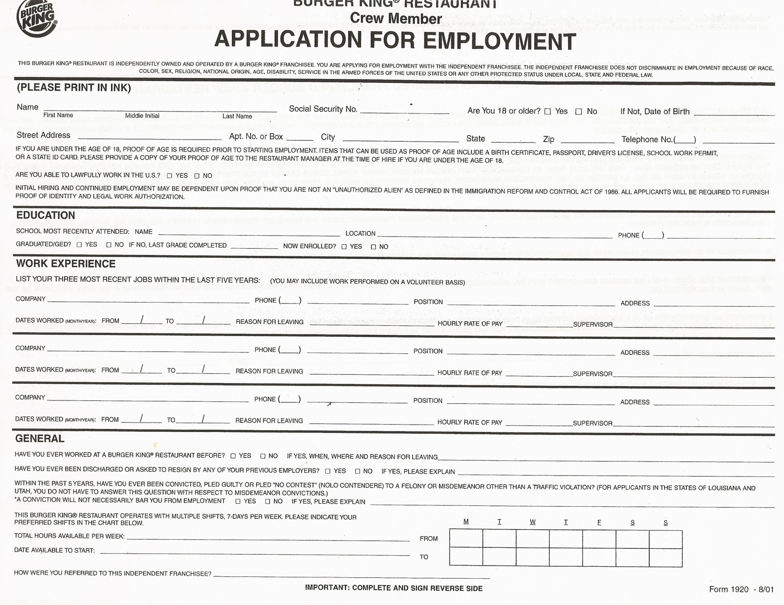 Job Application Printable Job Applications Printable Job Application - Free Printable Job Applications Online