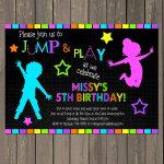 Jump Invitation Neon Bounce House Invitation Trampoline | Etsy   Free Printable Glow In The Dark Birthday Party Invitations