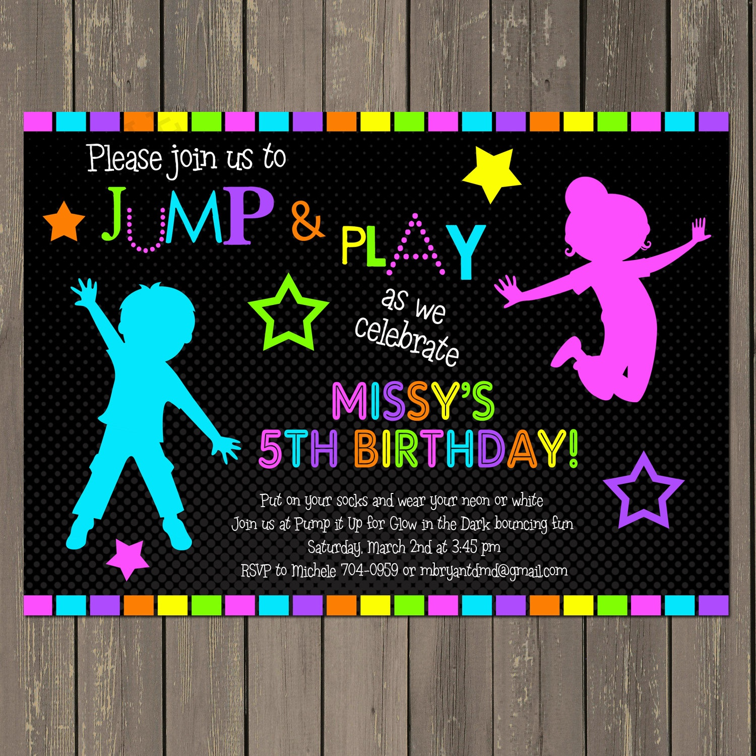 Jump Invitation Neon Bounce House Invitation Trampoline | Etsy - Free Printable Glow In The Dark Birthday Party Invitations
