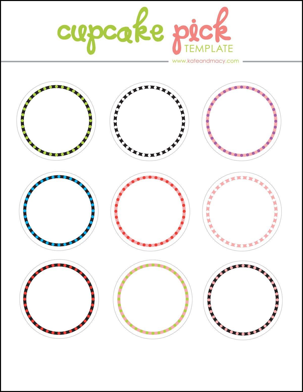 Kate: Free Digital Cupcake Pick Topper Template | Printables | 40Th - Free Printable Cupcake Toppers Bridal Shower