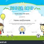 Kids Summer Camp Certificate Document Template Stock Vector (Royalty   Free Printable Camp Certificates