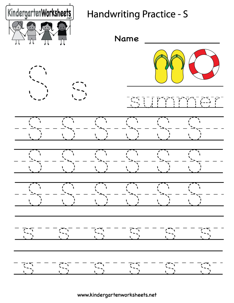 Kindergarten Letter S Writing Practice Worksheet Printable | G - Free Printable Handwriting Sheets For Kindergarten