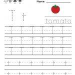 Kindergarten Letter T Writing Practice Worksheet Printable | Letter   Free Printable Letter Writing Worksheets