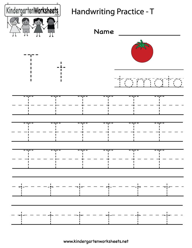 Kindergarten Letter T Writing Practice Worksheet Printable | Letter - Free Printable Letter Writing Worksheets