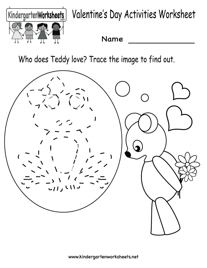 Kindergarten Valentine's Day Activities Worksheet Printable | Cute - Free Printable Kid Activities Worksheets