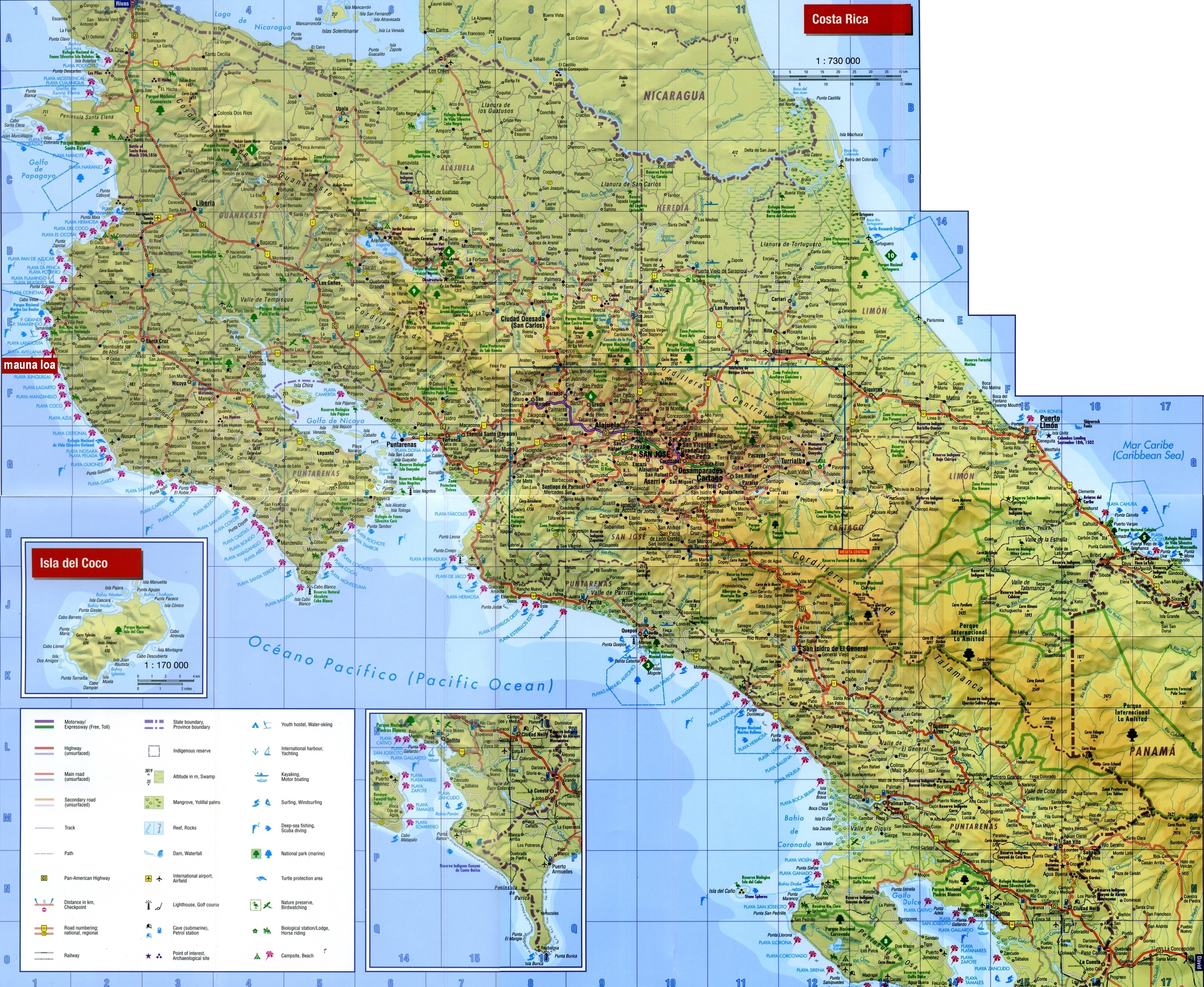 Large Detailed Map Of Costa Rica With Cities And Towns - Free Printable Map Of Costa Rica