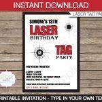 Laser Tag Birthday Invitations Free Printable – Happy Holidays!   Free Printable Laser Tag Invitation Template