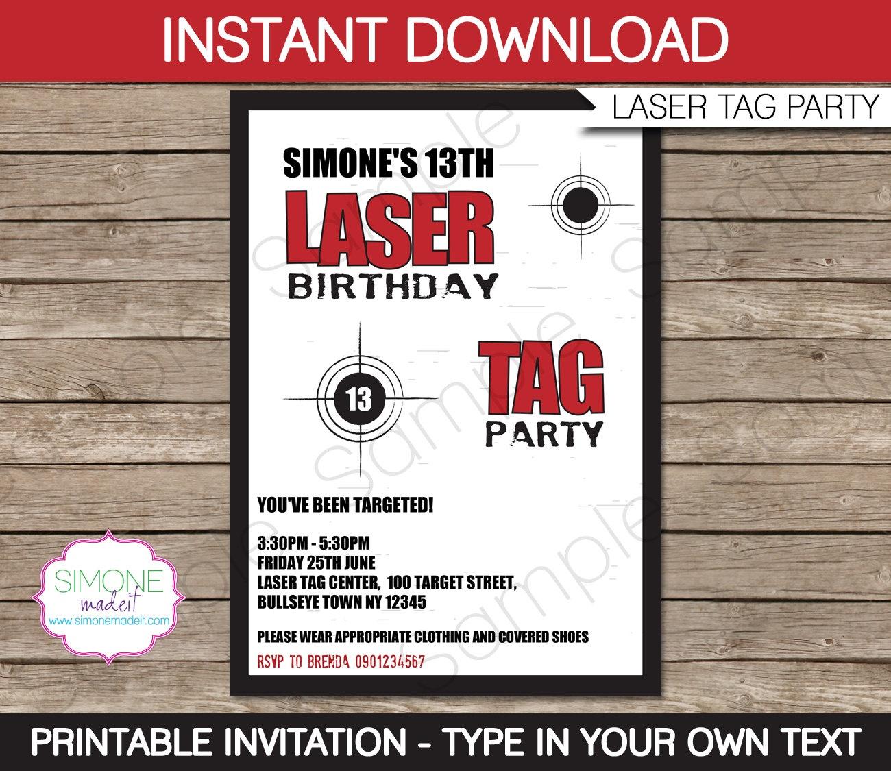 Laser Tag Birthday Invitations Free Printable – Happy Holidays! - Free Printable Laser Tag Invitation Template