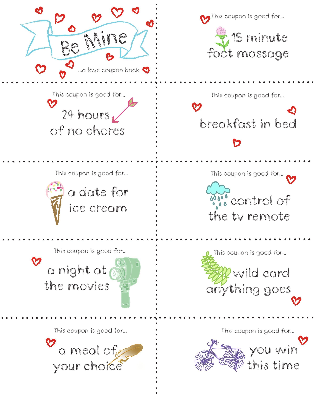 Last Minute Valentine Free Coupon Book Printable | Seasonal | Diy - Free Printable Coupons For Husband