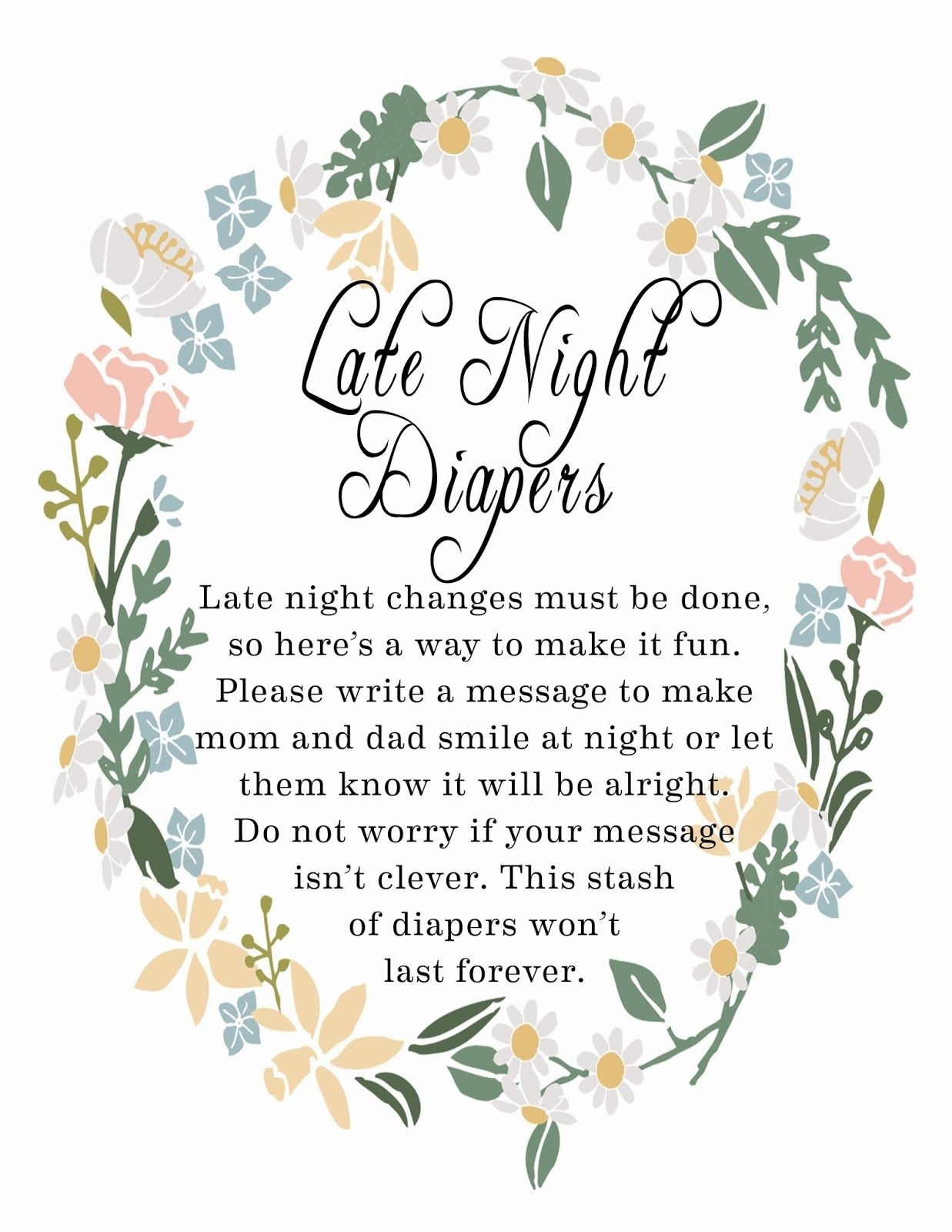 Late Night Diaper Signage | Baby Shower For Baby Miles! | Baby - Late Night Diaper Sign Free Printable
