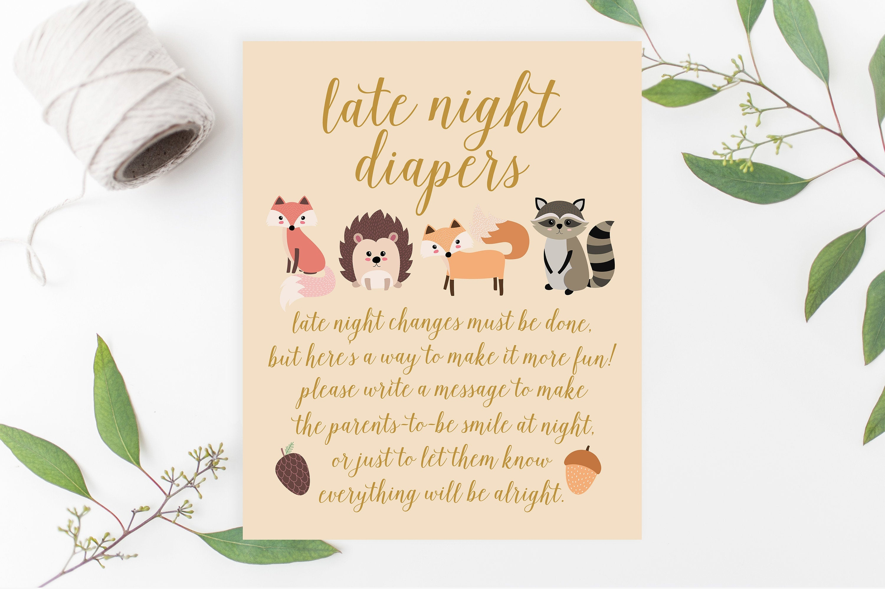 Late Night Diapers Game Woodland Animals Baby Shower Game | Etsy - Late Night Diaper Sign Free Printable