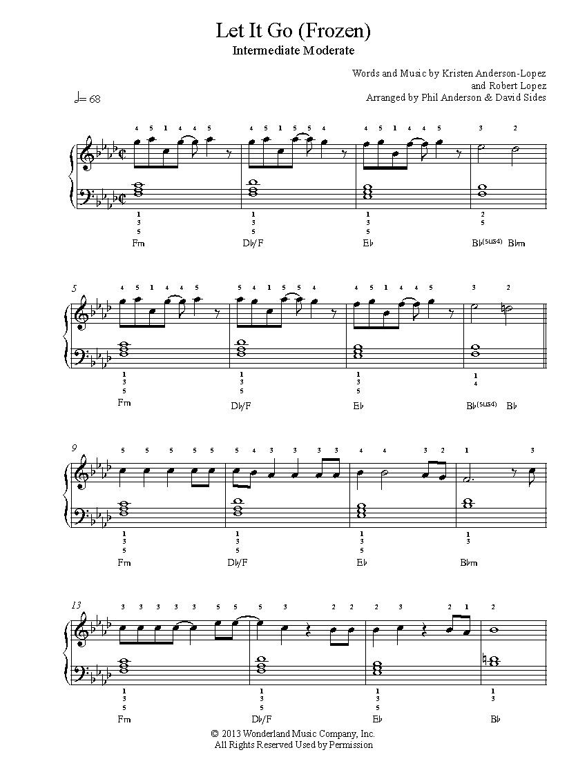 Let It Gofrozen Piano Sheet Music | Intermediate Level - Frozen Piano Sheet Music Free Printable
