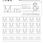 Letter M Writing Practice Worksheet   Free Kindergarten English   Free Printable Handwriting Sheets For Kindergarten