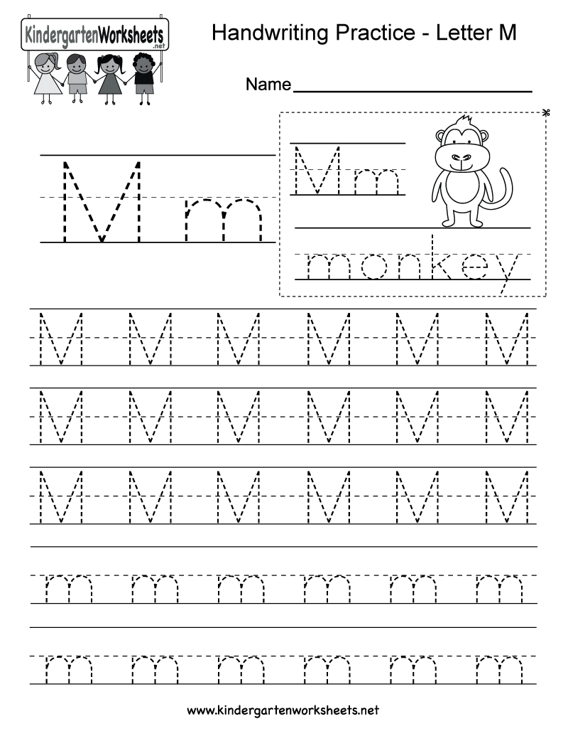 Letter M Writing Practice Worksheet - Free Kindergarten English - Free Printable Handwriting Sheets For Kindergarten