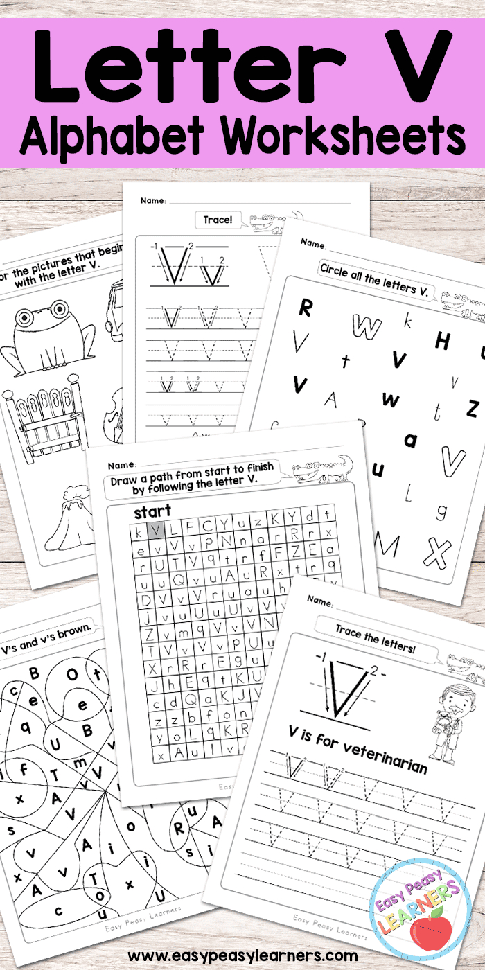 Letter V Worksheets - Alphabet Series - Easy Peasy Learners - Free Printable Letter Recognition Worksheets