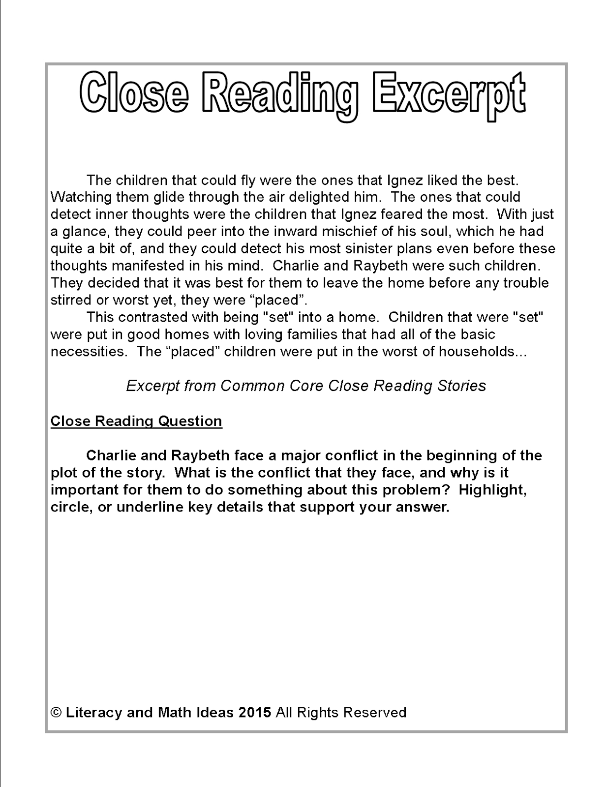 Literacy & Math Ideas: Free Close Reading Passage Of The Week - Free Printable Short Stories For High School Students