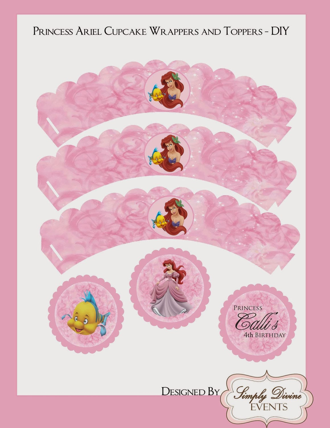 Little Mermaid Free Printable Wrappers And Toppers. - Oh My Fiesta - Free Printable Mermaid Cupcake Toppers
