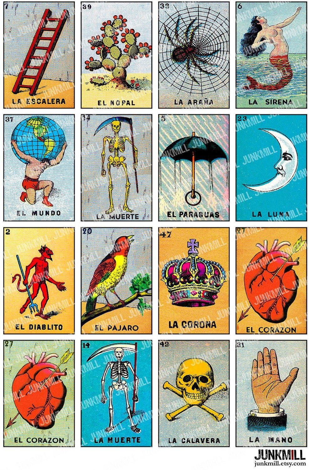 Loteria - Collage Sheet - Vintage Loteria Cards, Mexican Bingo - Free Printable Loteria Cards