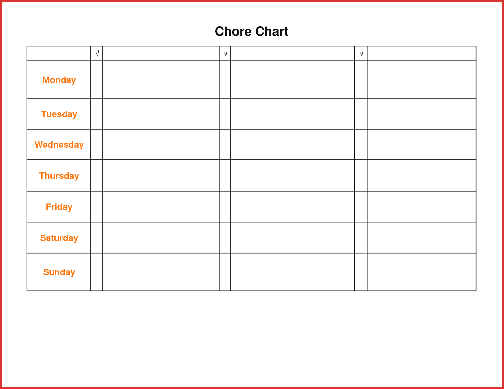 Lovely Teenage Chore Chart | Resume Pdf - Free Printable Teenage Chore Chart