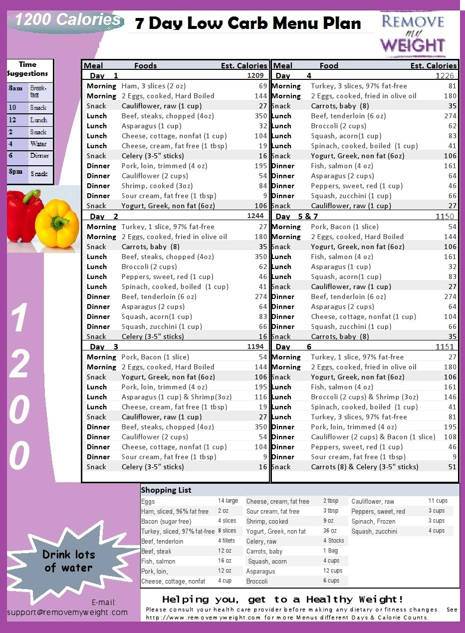 Low Carb Diet Menu Plan - Free Printable 7 Day 1200 Calories A Day - Free Printable Meal Plans For Weight Loss