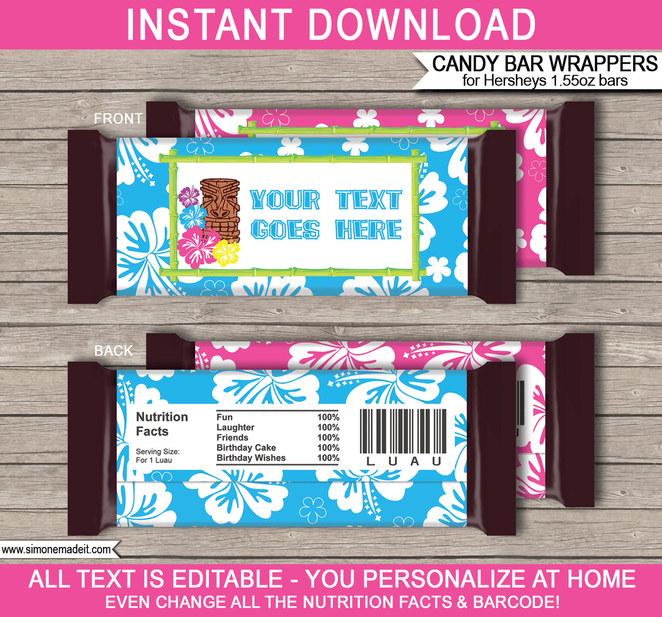 Luau Hershey Candy Bar Wrappers | Personalized Candy Bars - Free Printable Chocolate Wrappers