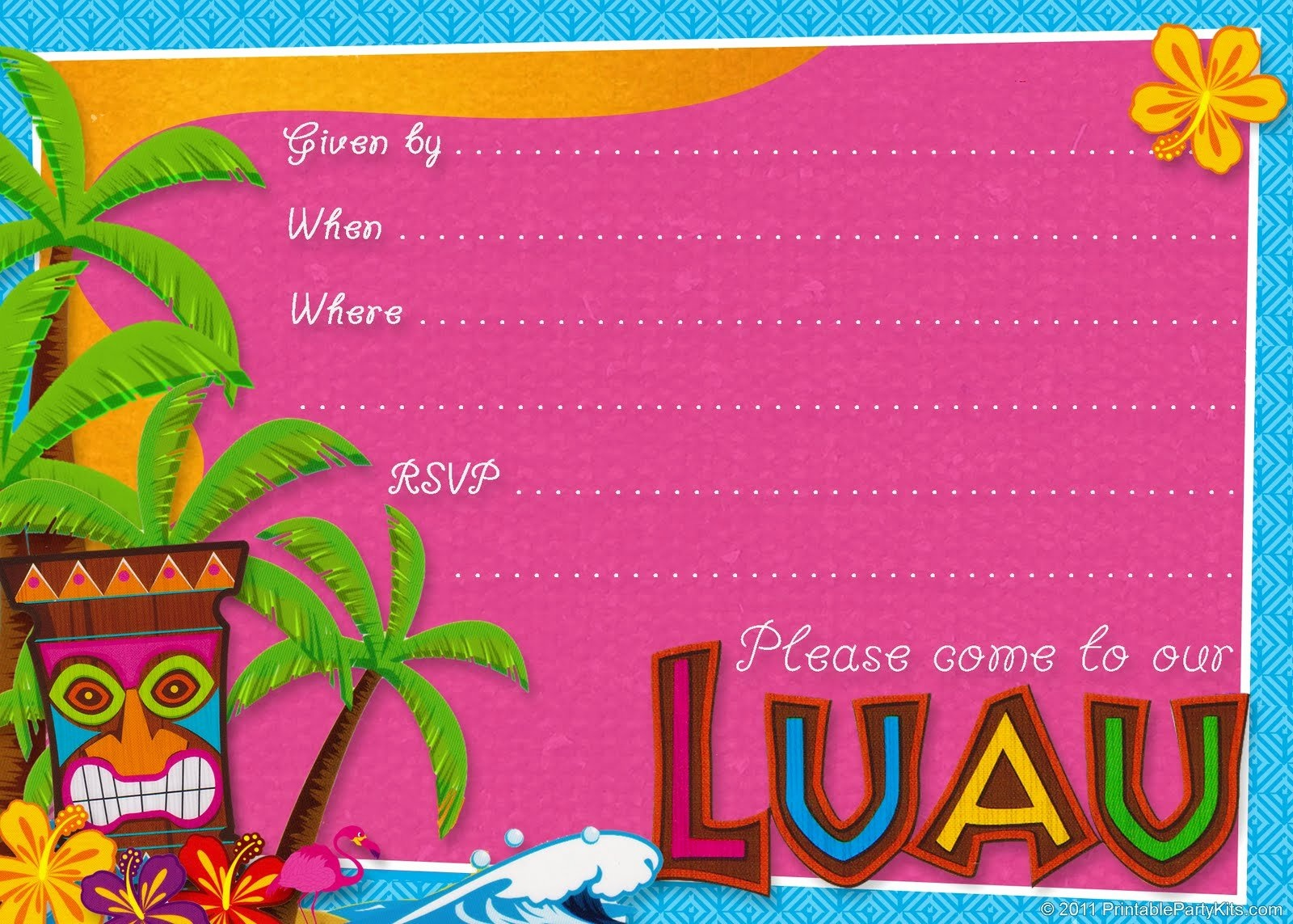 Luau Party Invitation Template Best Of Hawaiian Luau Party - Hawaiian Party Invitations Free Printable
