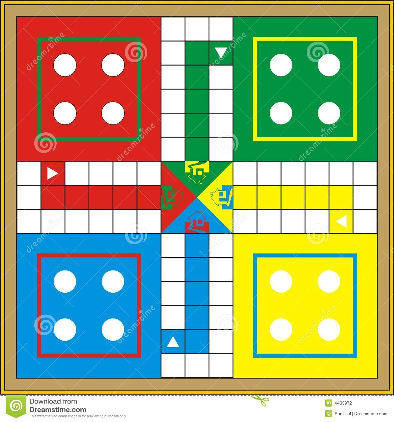 Ludo-Print & Gift Or Play Stock Illustration. Illustration Of - Free Printable Ludo Board