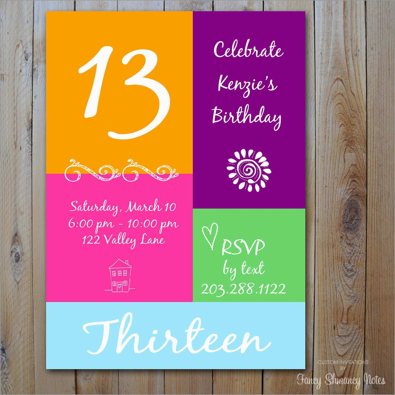 Luxury 13Th Birthday Invitation Templates Free | Best Of Template - 13Th Birthday Party Invitations Printable Free