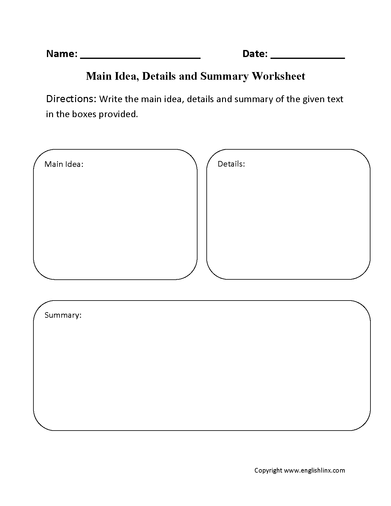 Main Idea Worksheets | Main Idea, Details And Summary Worksheet - Free Printable Main Idea Graphic Organizer