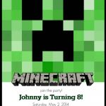 Make Your Own Custom Printable Minecraft Party Invitations   Free Printable Minecraft Birthday Party Invitations Templates