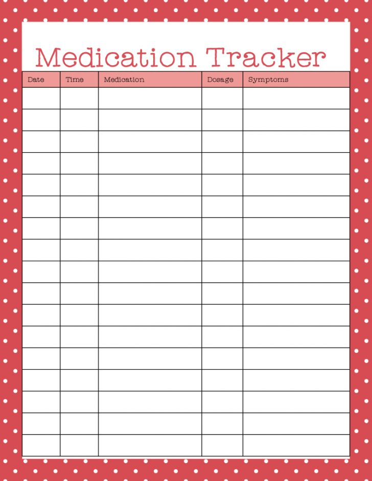 Free Printable Medicine Daily Chart